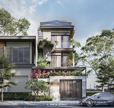 Thiết kế kiến trúc nhà phố mái thái 1 trệt 2 lầu hiện đại