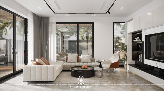 Thiết kế nội thất biệt thự vườn mái bằng hiện đại 300m2